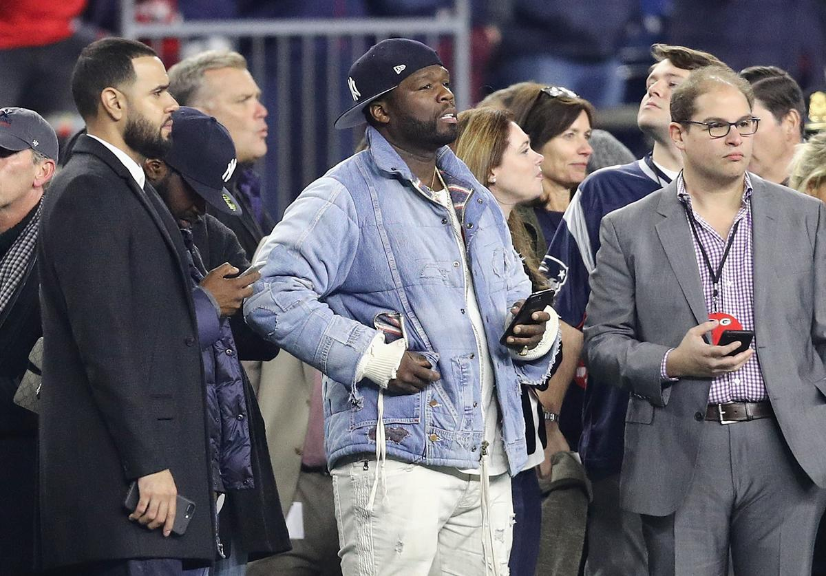 50 Cent attends the game between the Green Bay Packers and the New England Patriots at Gillette Stadium on November 4, 2018 in Foxborough, Massachusetts