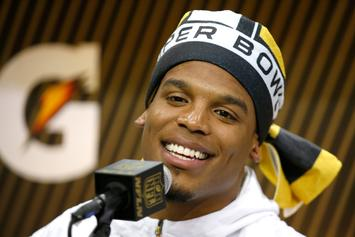 Cam Newton & Aqib Talib Freestyle Battled A Reporter At Super Bowl Media Day