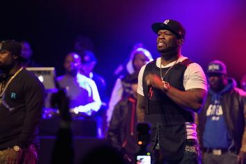 "50 Cent Holds Up ""R.I.P Meek Mill"" Shirt At Oakland Concert"
