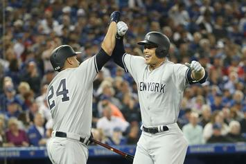 Giancarlo Stanton Crushes Homerun In Yankees Debut