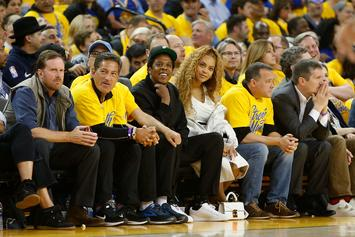 """Bey-Z"" Courtside For Golden State Warriors' Game 1 Blowout"
