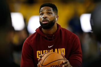 """Tristan Thompson Spotted Being """"Touchy-Feely"""" With Mystery Woman: Report"""
