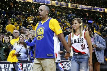 Steph Curry's Mom Cheers Him On While Wearing Trail Blazers Jersey