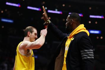 Alex Caruso Jokes About LeBron James' Weight After Heavy Chest Bump