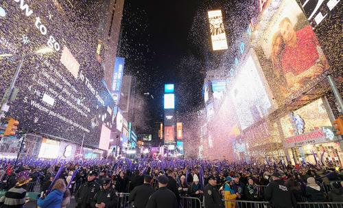 A general view during New Year's Eve 2017 in Times Square on December 31, 2016 in New York City