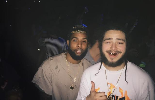 Post Malone poses with Odell Beckham Jr.