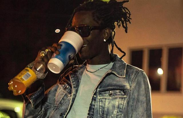 Young Thug sipping on a double cup