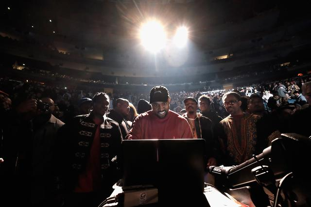 Kanye West at yeezy season 3 in madison square gardens