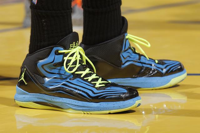 The shoes belonging to Blake Griffin #32 of the Los Angeles Clippers in a game against the Golden State Warriors on January 21, 2013 at Oracle Arena in Oakland, California.