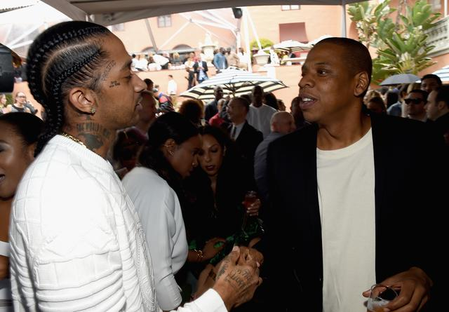 Nipsey Hussle and Jay Z at pre-Grammy brunch in 2015