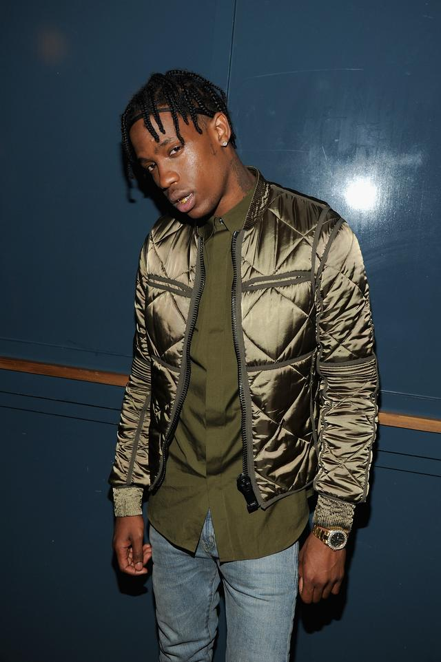 Travis Scott in satin button down