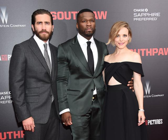 50 Cent at Southpaw movie premiere